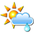 Partly cloudy and light rain